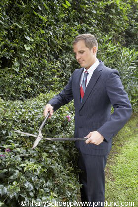 Man Using Hedge Clippers In His Business Suit Funny